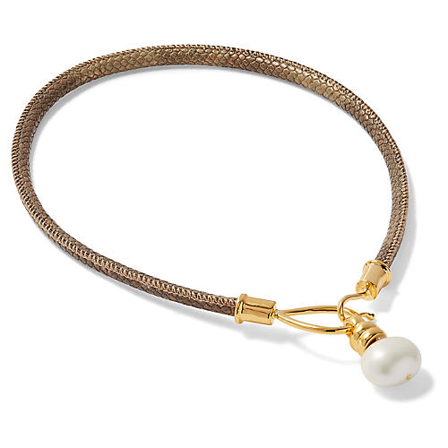 Mother-of-Pearl Lasso & Hook Necklace, Brass