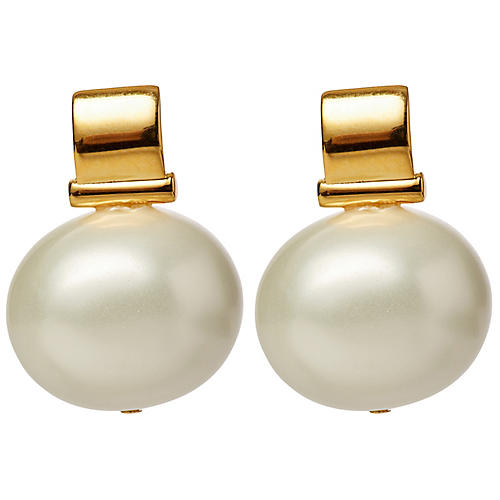 Mother-of-Pearl Scoop Drop Earrings, Brass