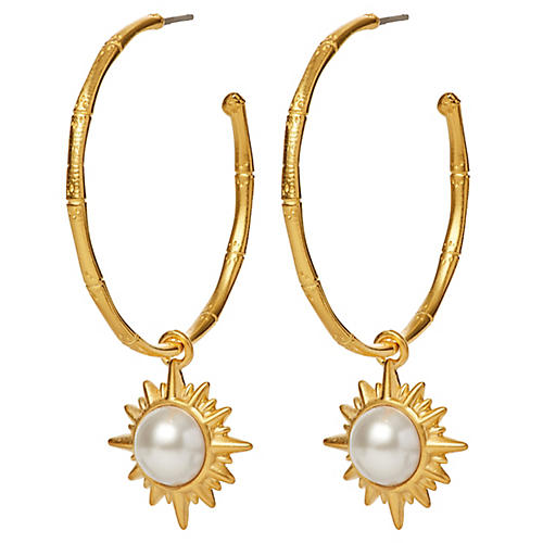 Mother-of-Pearl Starburst Hoop Earrings, Brass