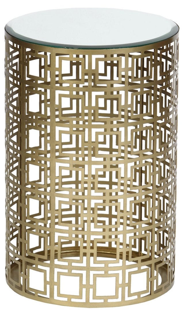 Aleah Side Table, Antiqued Brass