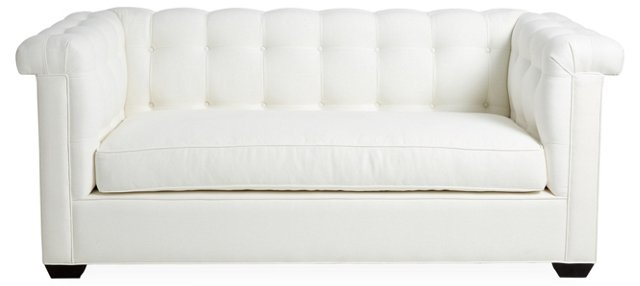 "Brentwood 108"" Tufted Linen Sofa, White"
