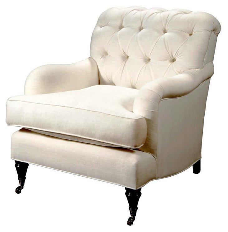 Somerset Tufted Armchair, Cream Linen