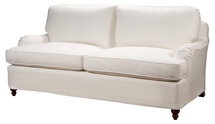"Stratford 84"" Linen Sofa, Oyster"