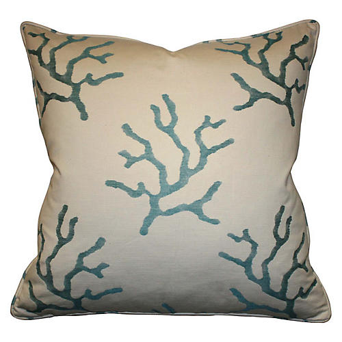 Reef 22x22 Cotton-Blend Pillow, Blue