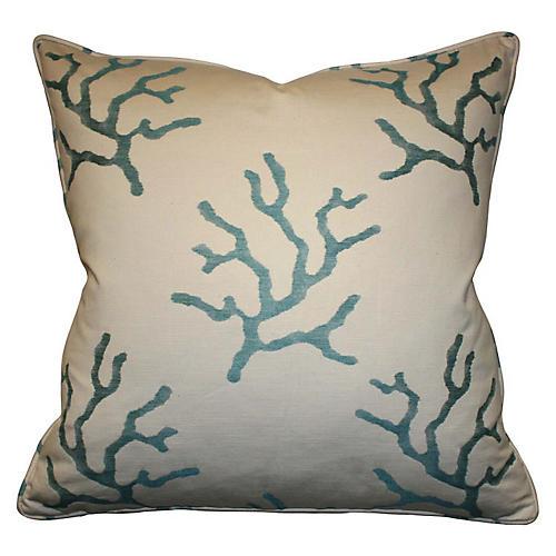 Reef 22x22 Cotton-Blend Pillow, Blue