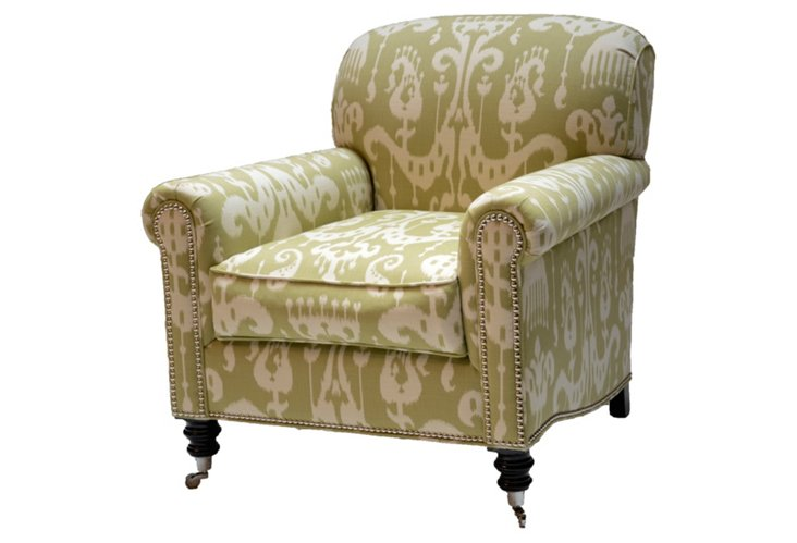 Sussex Ikat Club Chair, Celadon/Cream