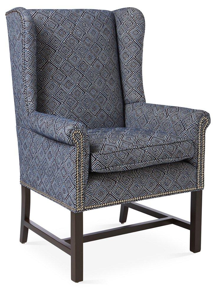 Kingston Wingback Chair, Navy