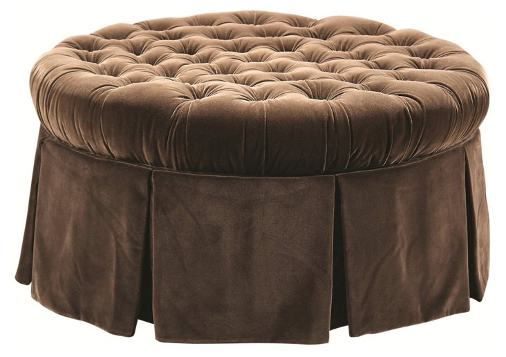 Elizabeth Tufted Ottoman, Chocolate