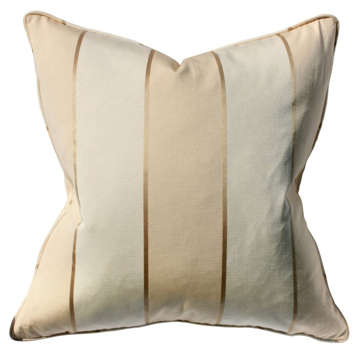Tansey 22x22 Cotton-Blend Pillow, Cream