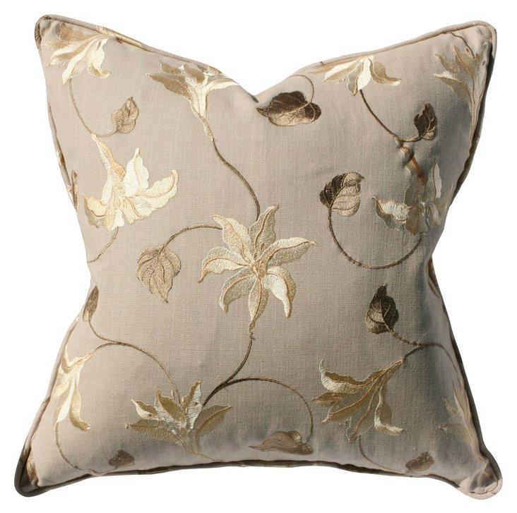 Beatrix 22x22 Pillow, Taupe