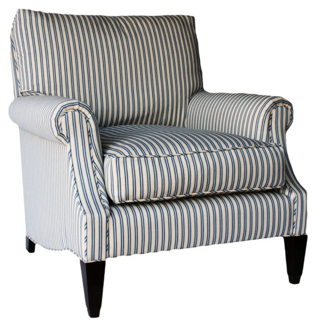 Bentley Club Chair, Blue/Oyster