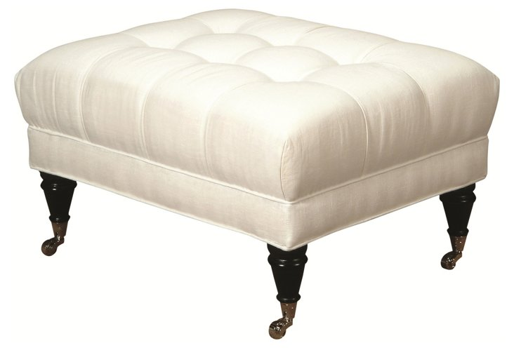 Michael Tufted Linen Ottoman, Oyster