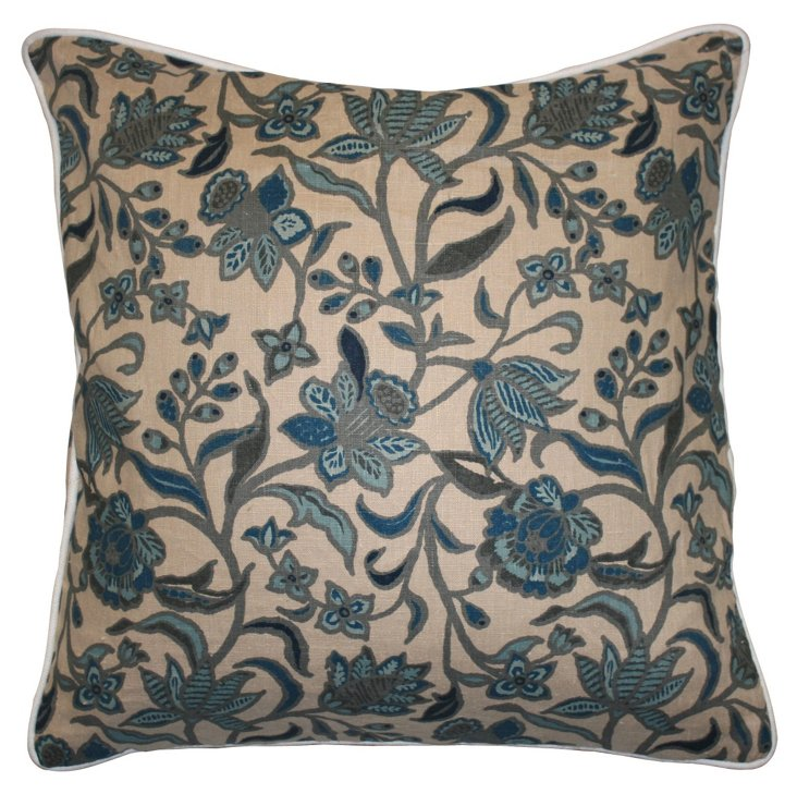 Floral 22x22 Linen Pillow, Teal