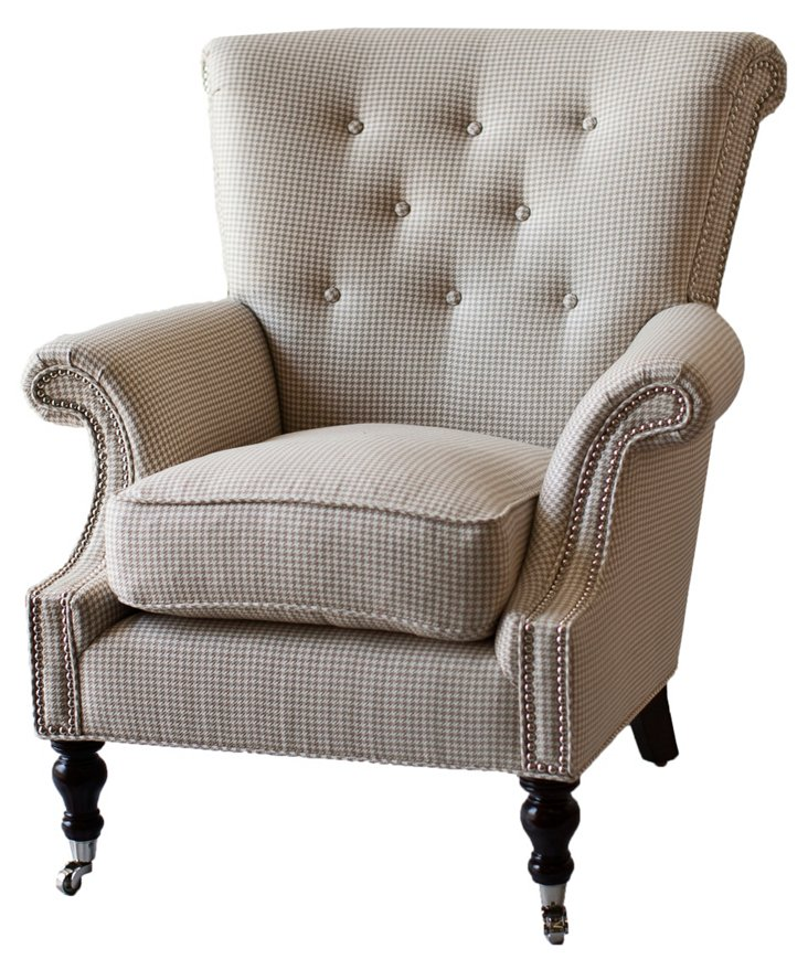 Lucia Tufted Houndstooth Chair, Beige