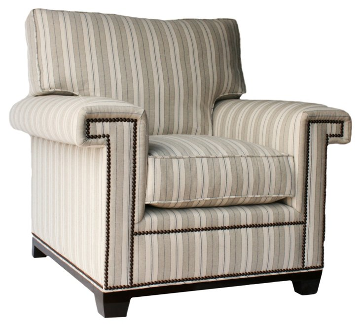 Paxton Striped Linen Club Chair, Taupe