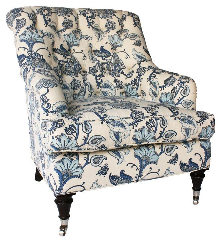 Tiffany Tufted Club Chair, Ivory/Sky