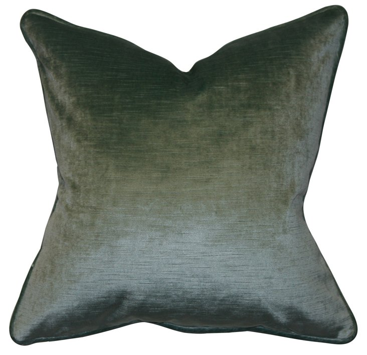 Brussels 22x22 Velvet Pillow, Aqua Green