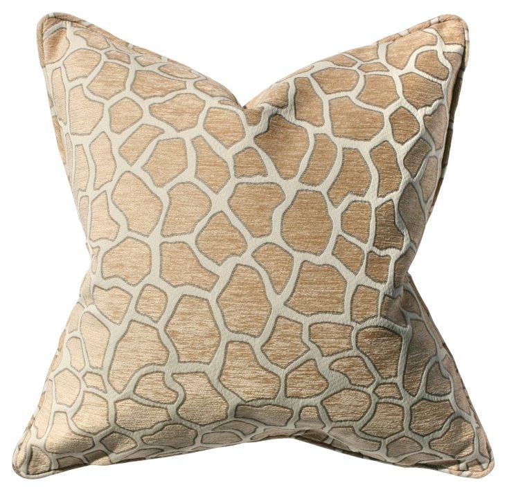 Giraffe 22x22 Pillow, Tan