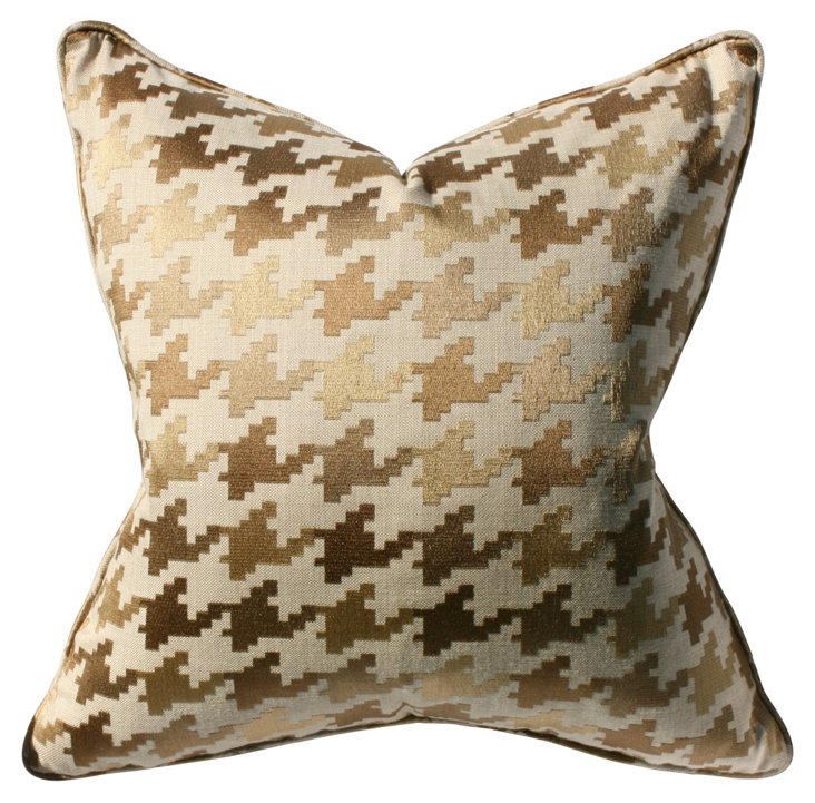 Houndstooth 22x22 Pillow, Gold