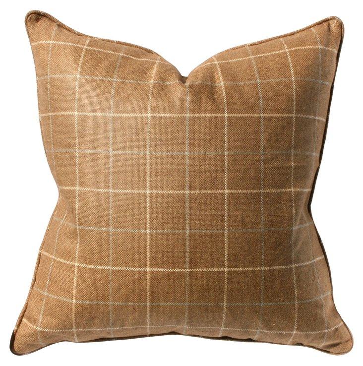 Wessex 22x22 Linen-Blend Pillow, Barley