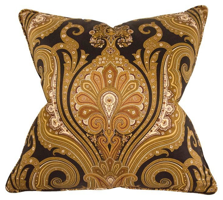 Frances 22x22 Cotton Pillow, Gold