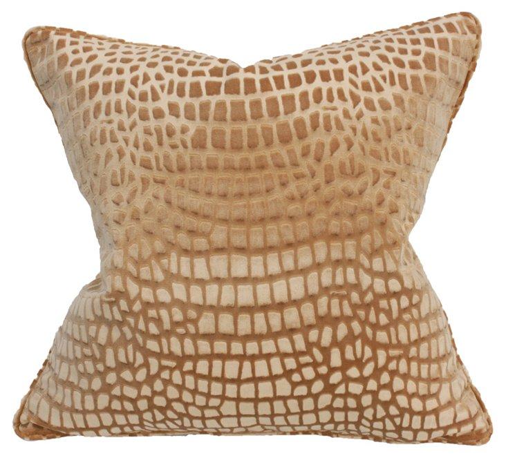 Voyage 22x22 Cotton-Blend Pillow, Camel