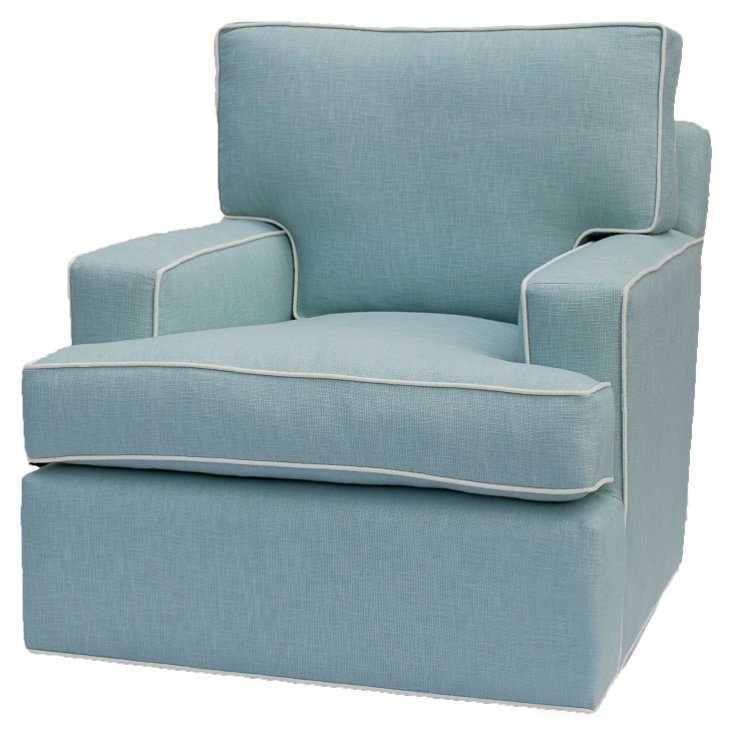Manhattan Swivel Chair, Robin's-Egg Blue