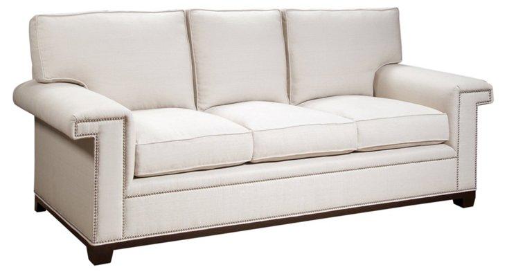 """Paxton 90"""" Linen Sofa, Natural"""