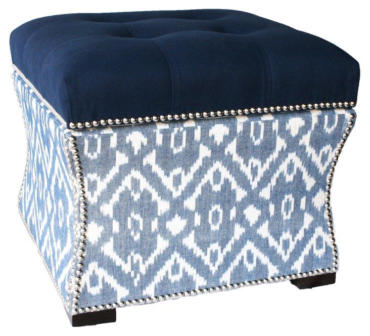 Claire Storage Ottoman, Blue/White