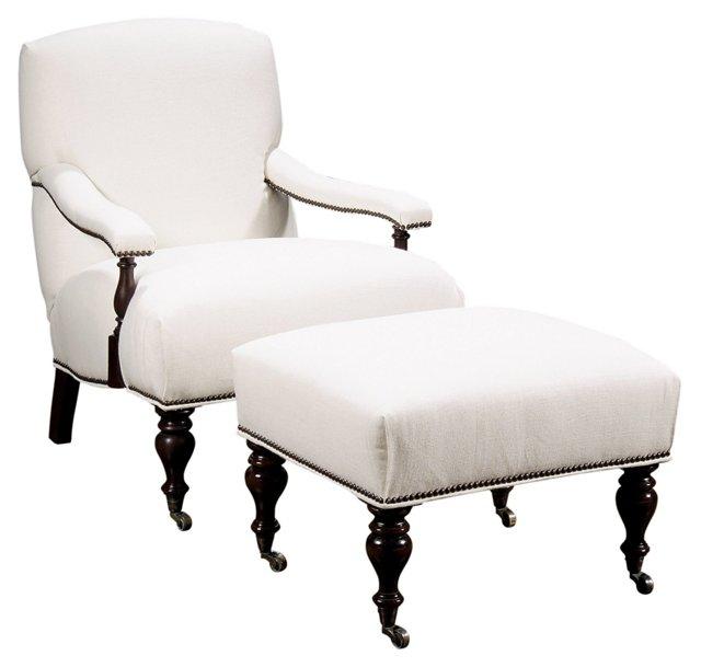Newport Linen Chair & Ottoman, Oyster