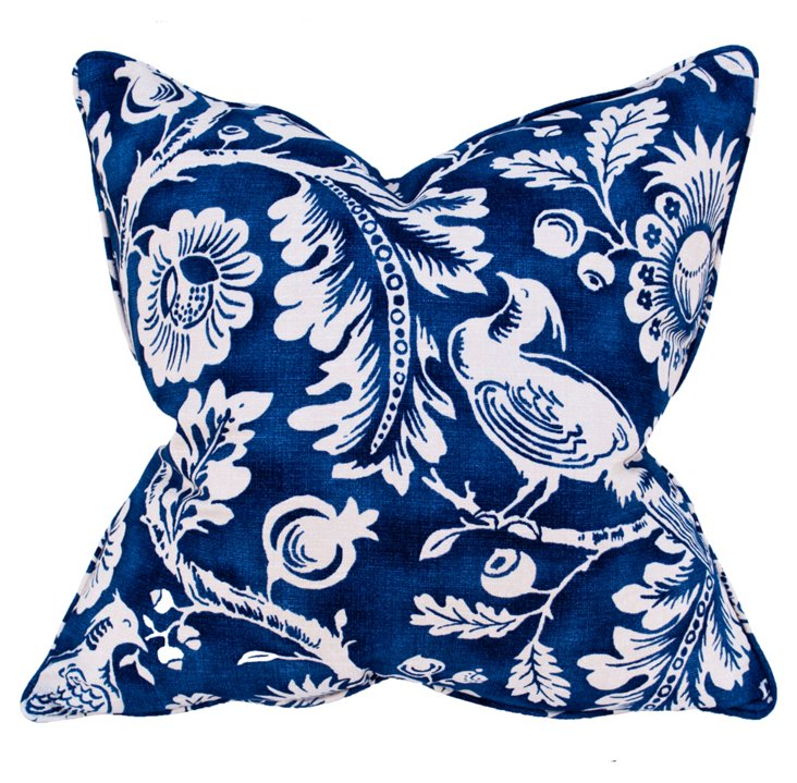 Floral 22x22 Cotton Pillow, Blue