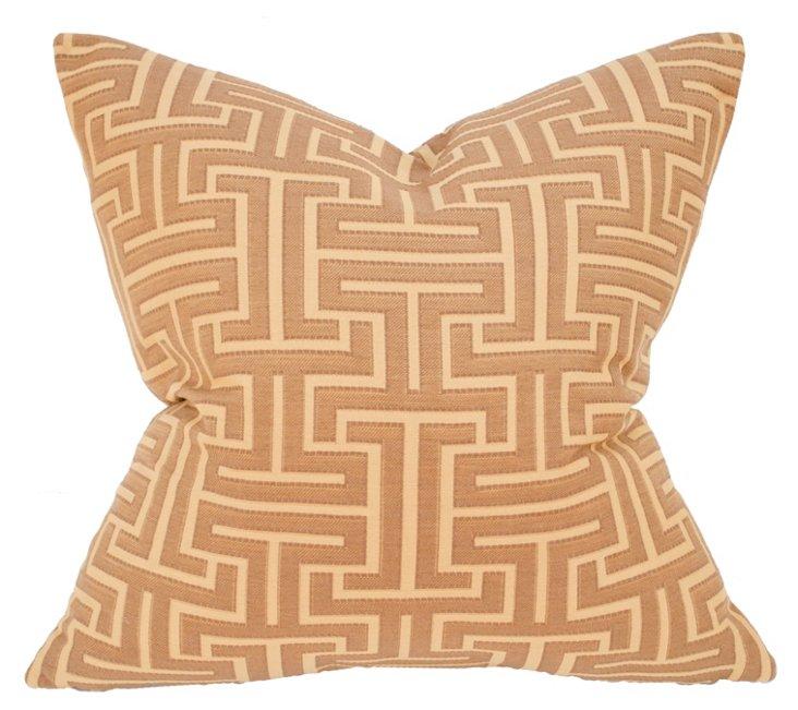 Labyrinth 22x22 Pillow, Camel