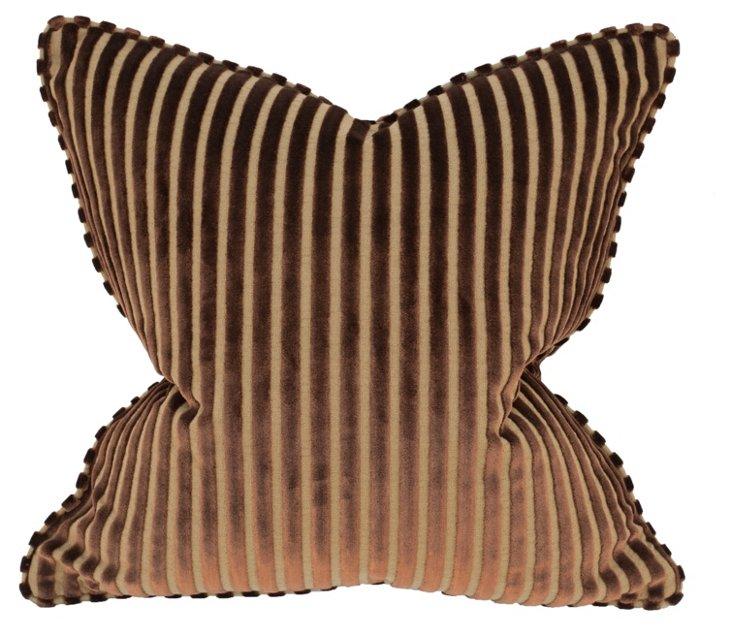 Stripe 22x22 Pillow, Brown