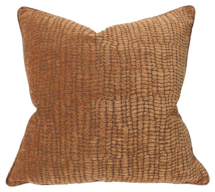 Reptile 22x22 Pillow, Brown
