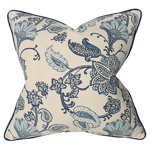 Floral 22x22 Cotton-Blend Pillow, Blue