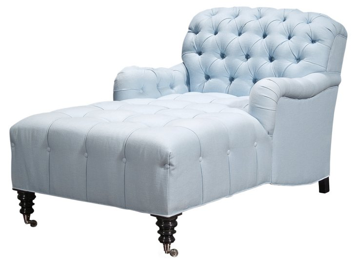 Somerset Tufted Linen Chaise, Blue