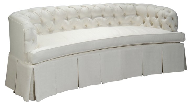 """Renee 84"""" Curve-Back Tufted Sofa, Oyster"""