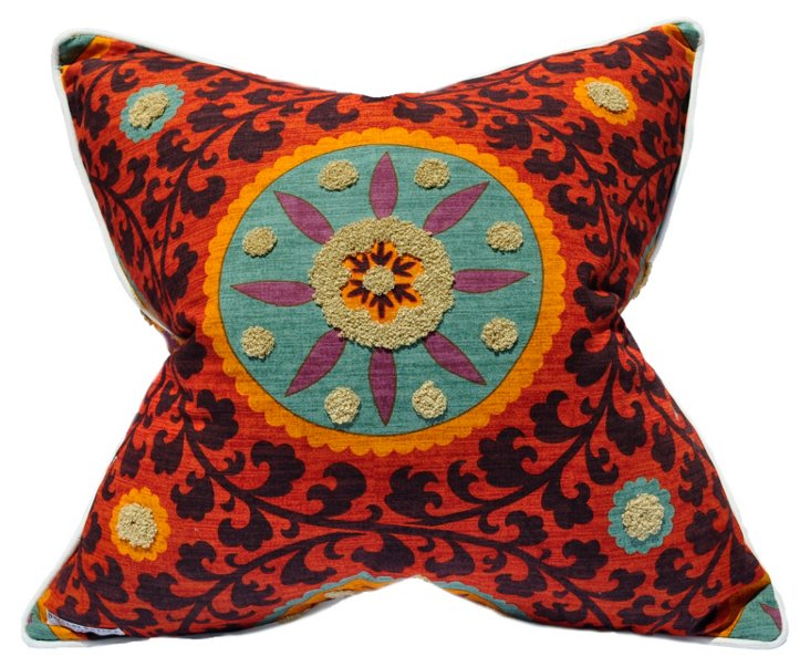 Tribal Sunset 22x22 Cotton Pillow, Red