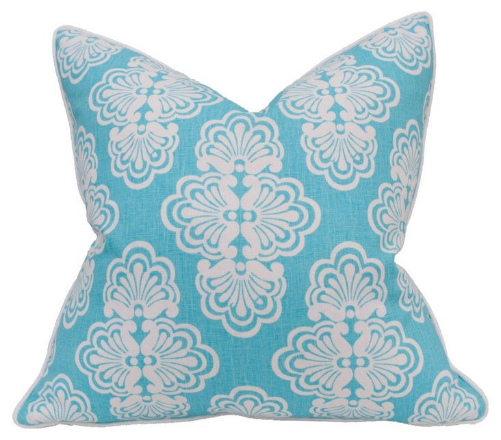Shorely 22x22 Linen Pillow, Turquoise