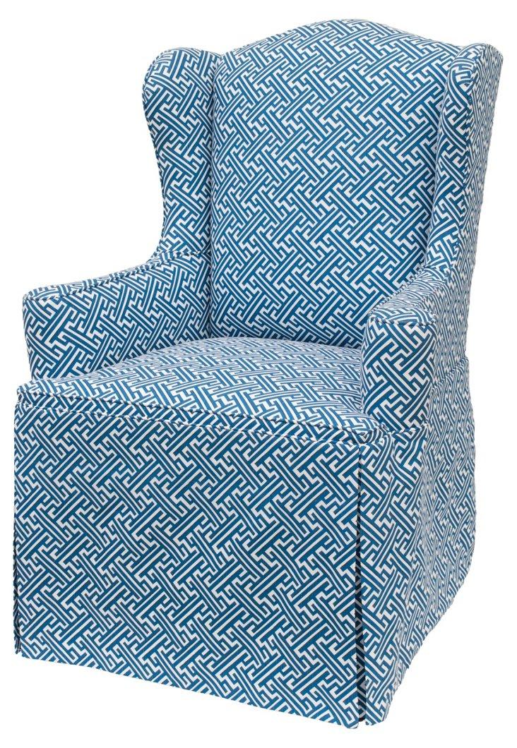 Hudson Skirted Wingback Chair, Blue