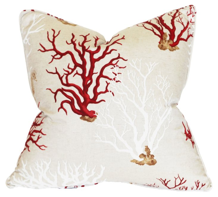 Coral 22x22 Cotton-Blended Pillow, Multi