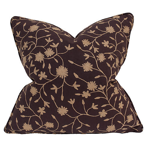 Vine Embroidered 22x22 Pillow, Brown