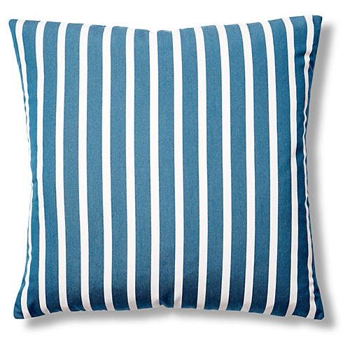 Shore 22x22 Outdoor Pillow, Blue/White