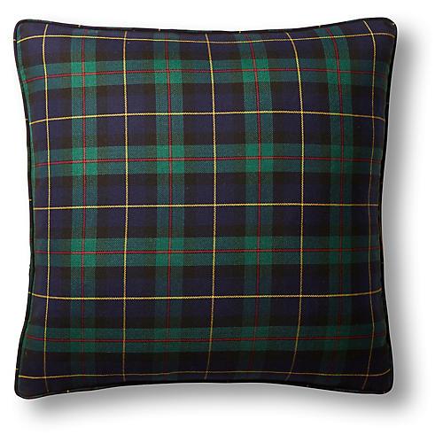 Macewan Plaid 22x22 Pillow, Navy/Green