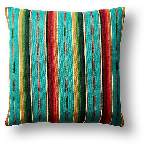 Sundance Stripe 22x22 Pillow, Turquoise