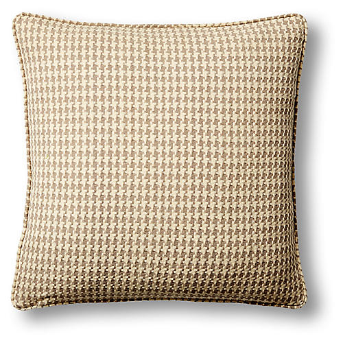 Stone Houndstooth 22x22 Pillow, Stone