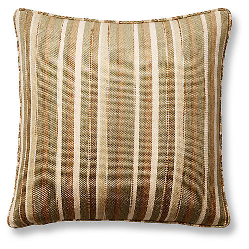 Del-Mar Stripe 22x22 Pillow, Green