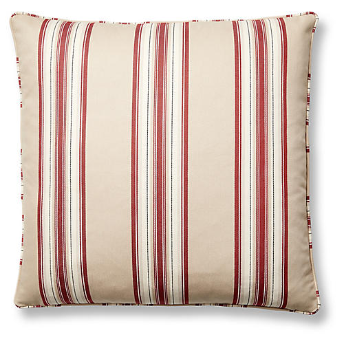 Cottonwood Stripe 22x22 Pillow, Taupe