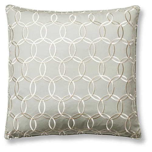 Inner Circle 22x22 Pillow, Sea Mist/Ivory