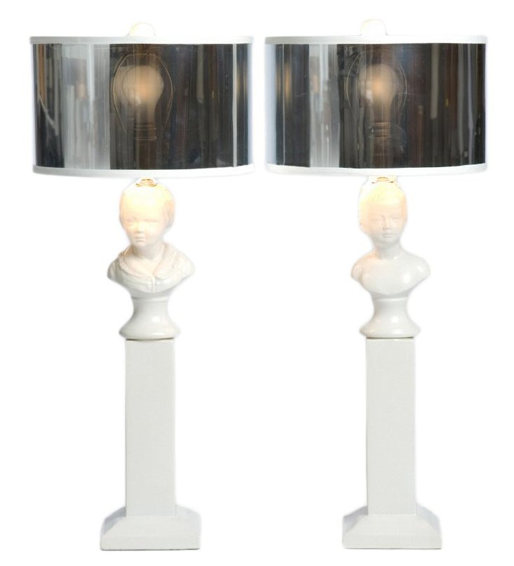 Boy & Girl Table Lamp Set, White